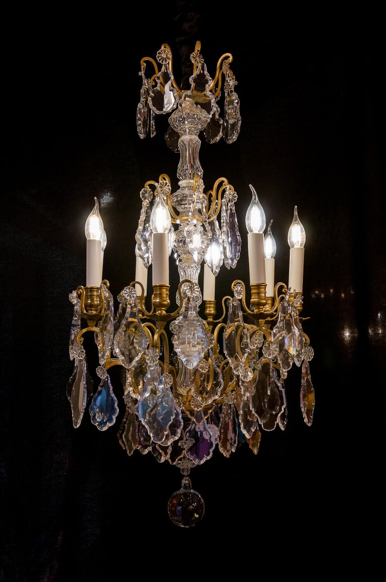 French Louis XVI Style Gilt-Bronze and Crystal Chandelier, circa 1890-1910 For Sale 11