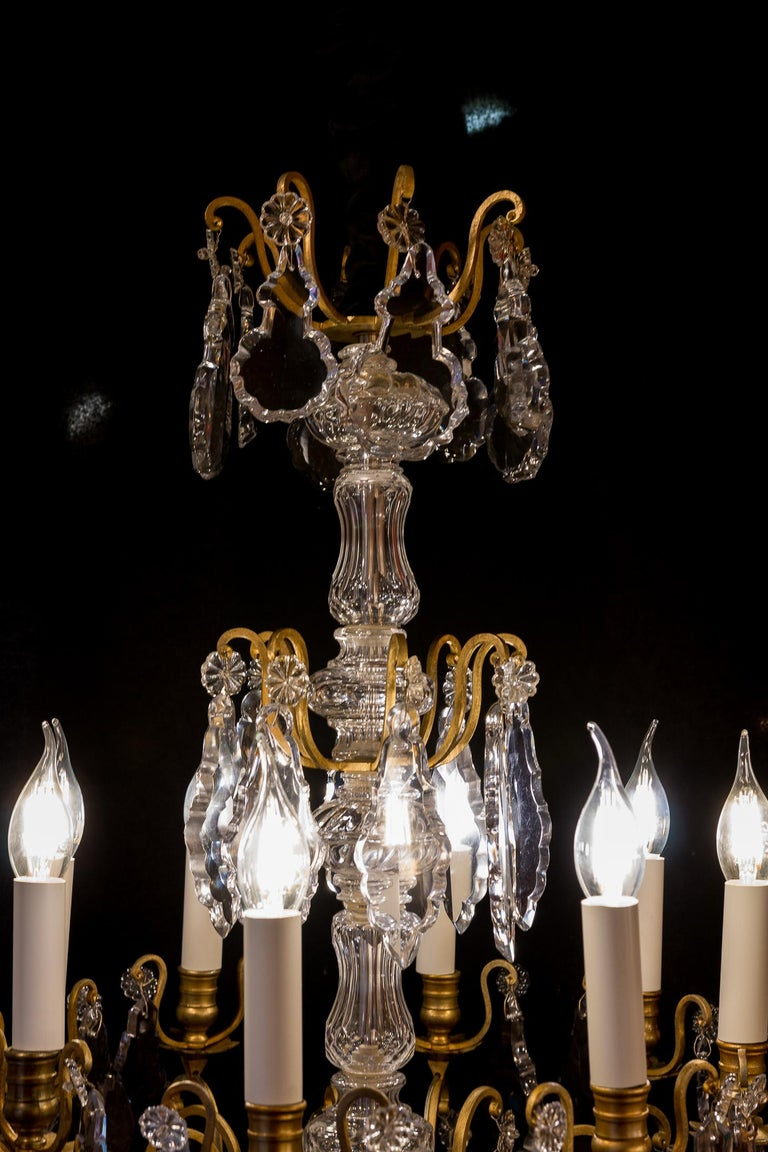19th Century French Louis XVI Style Gilt-Bronze and Crystal Chandelier, circa 1890-1910 For Sale