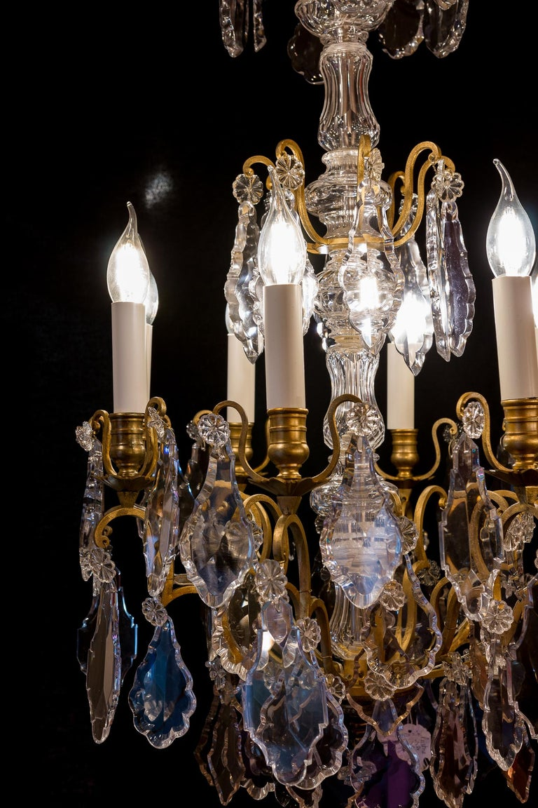 French Louis XVI Style Gilt-Bronze and Crystal Chandelier, circa 1890-1910 For Sale 1