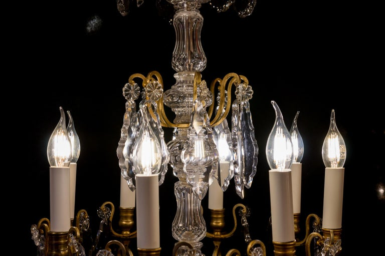 French Louis XVI Style Gilt-Bronze and Crystal Chandelier, circa 1890-1910 For Sale 2