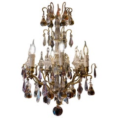 French Louis XVI Style Gilt-Bronze & Cut Crystal Small Chandelier Circa 1920