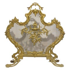 French Louis XVI Style Gilt Bronze Fireplace Screen