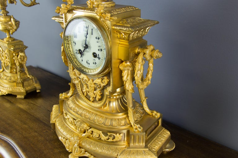 French Louis XVI Style Gilt Bronze Three-Piece Garniture Clock Set For Sale 6