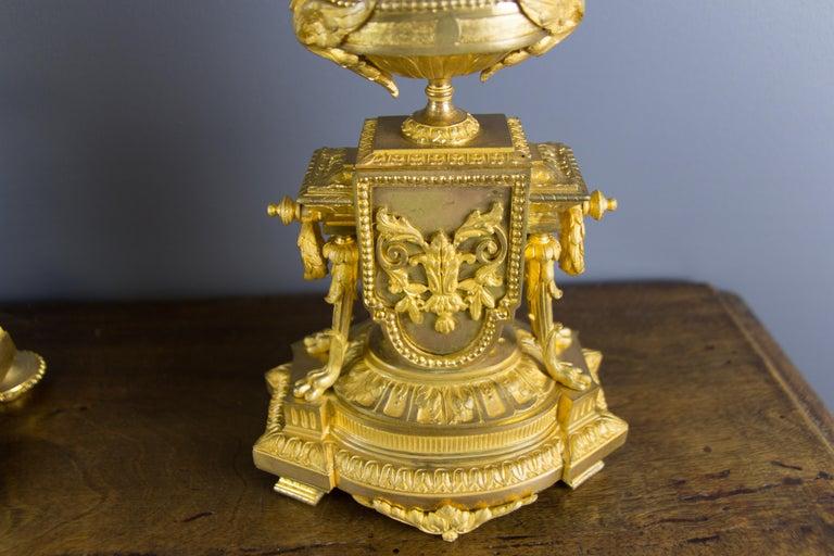 French Louis XVI Style Gilt Bronze Three-Piece Garniture Clock Set For Sale 7
