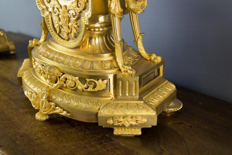 French Louis XVI Style Gilt Bronze Three-Piece Garniture Clock Set For Sale 9