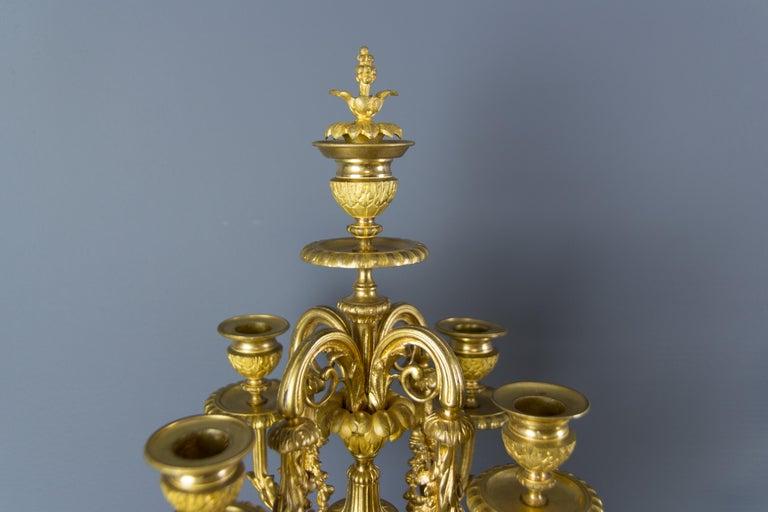 French Louis XVI Style Gilt Bronze Three-Piece Garniture Clock Set For Sale 11