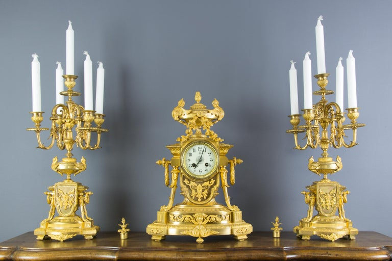 French Louis XVI Style Gilt Bronze Three-Piece Garniture Clock Set For Sale 12