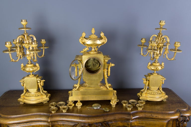 French Louis XVI Style Gilt Bronze Three-Piece Garniture Clock Set For Sale 13