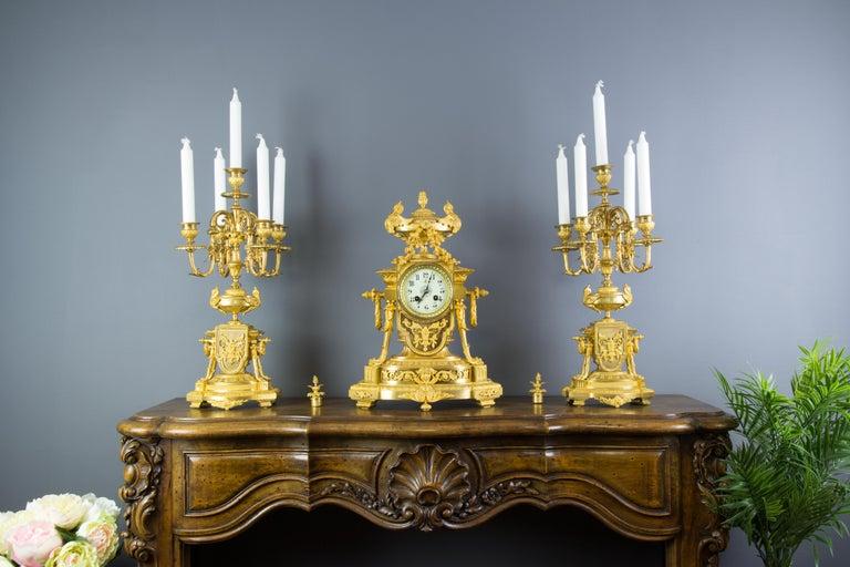 French Louis XVI Style Gilt Bronze Three-Piece Garniture Clock Set For Sale 14