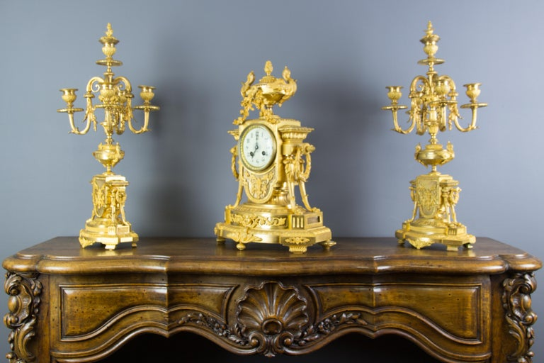 Faceted French Louis XVI Style Gilt Bronze Three-Piece Garniture Clock Set For Sale