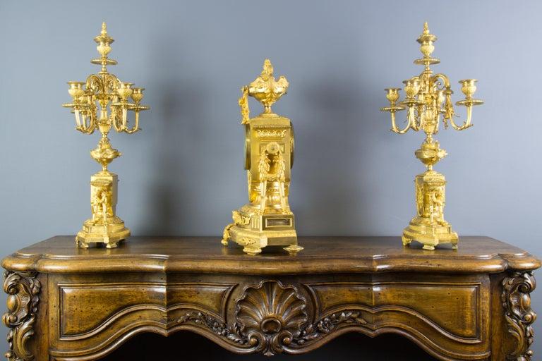 French Louis XVI Style Gilt Bronze Three-Piece Garniture Clock Set In Good Condition For Sale In Barntrup, DE