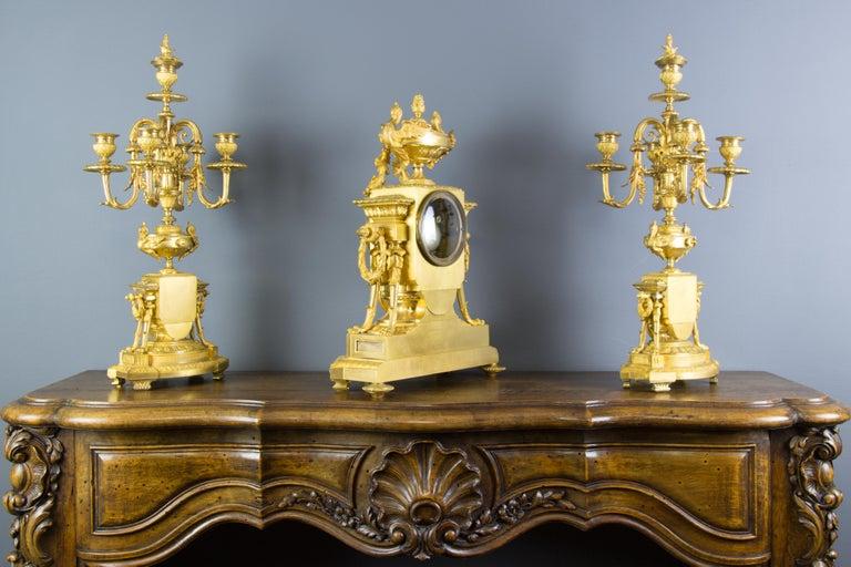 19th Century French Louis XVI Style Gilt Bronze Three-Piece Garniture Clock Set For Sale