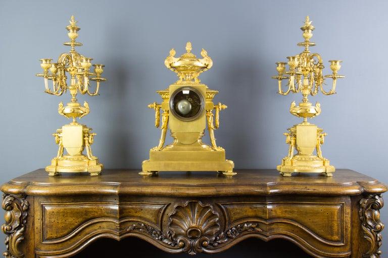 French Louis XVI Style Gilt Bronze Three-Piece Garniture Clock Set For Sale 1