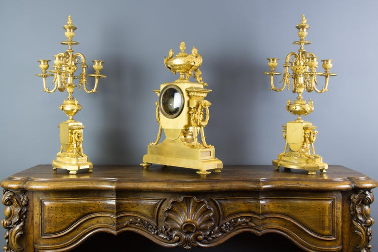 French Louis XVI Style Gilt Bronze Three-Piece Garniture Clock Set For Sale 2