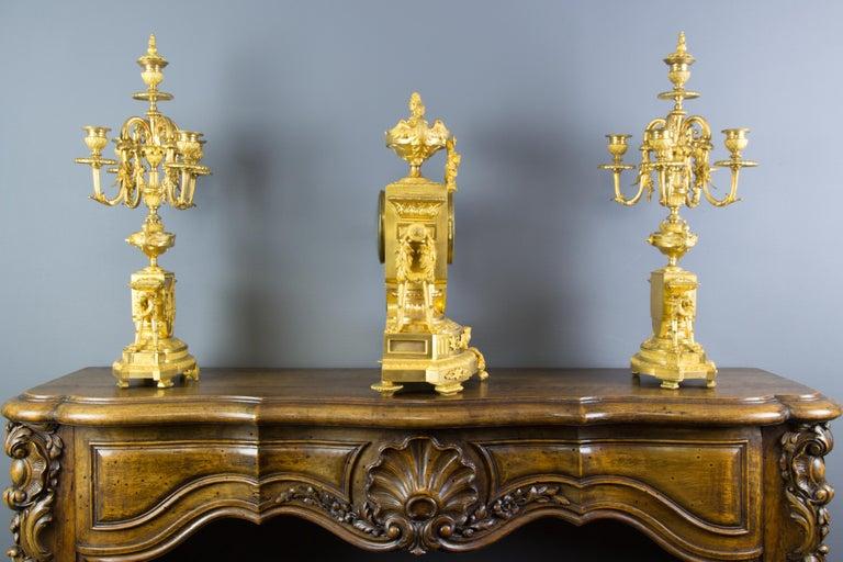 French Louis XVI Style Gilt Bronze Three-Piece Garniture Clock Set For Sale 3