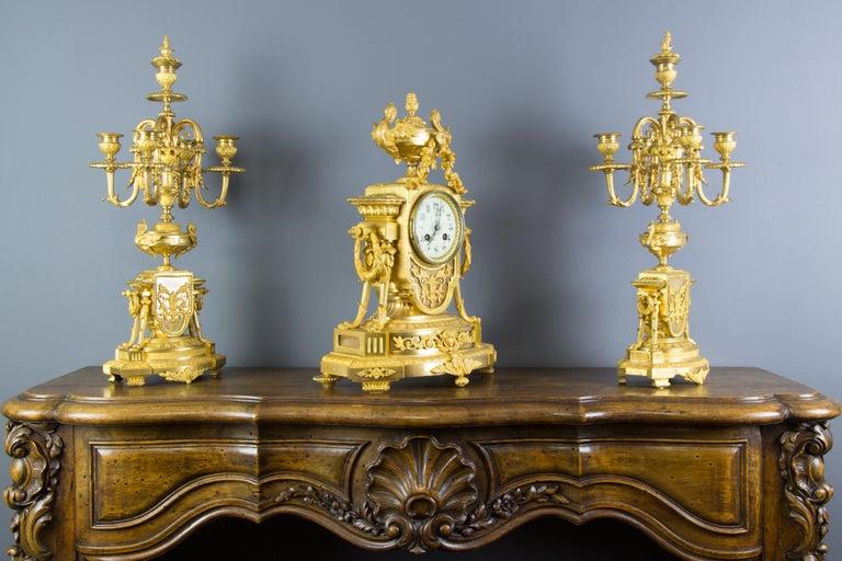 French Louis XVI Style Gilt Bronze Three-Piece Garniture Clock Set For Sale 4