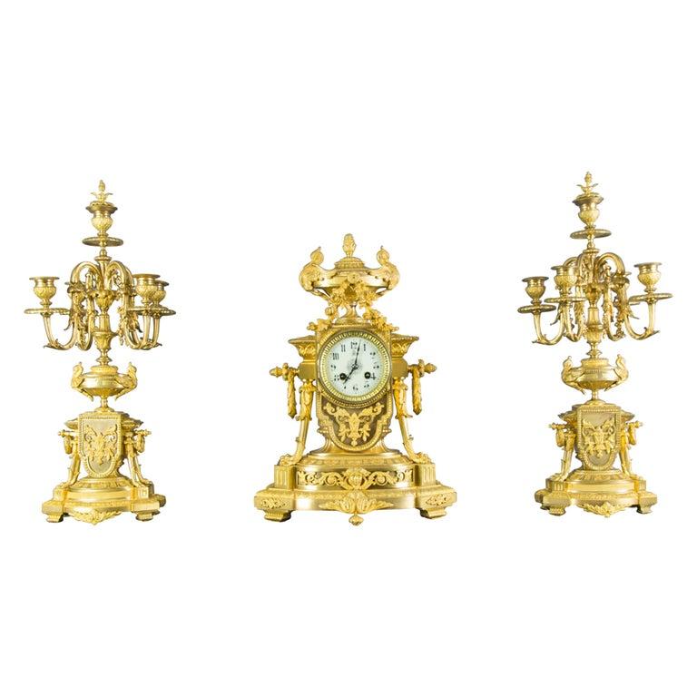 French Louis XVI Style Gilt Bronze Three-Piece Garniture Clock Set For Sale