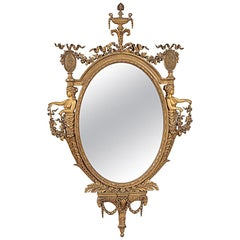 French Louis XVI Style Gilt Oval Mirror, 19th Century