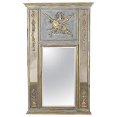 French Louis XVI Style Gilt Painted Mirror