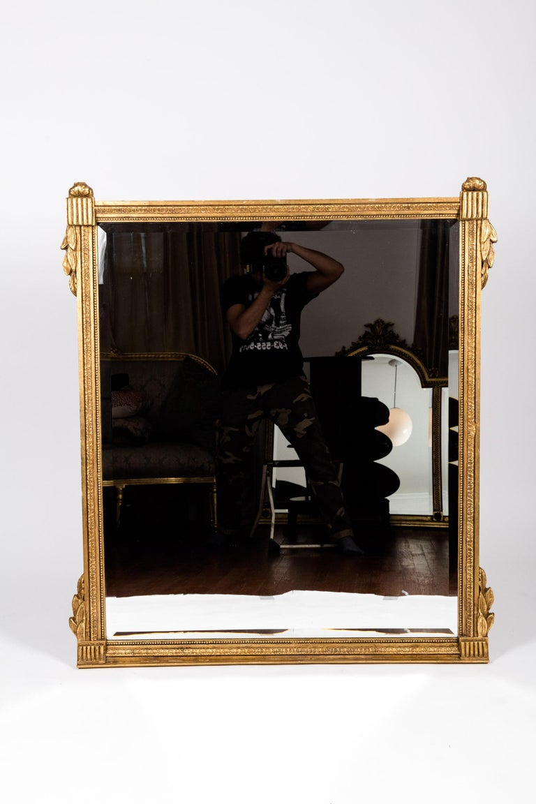 French Louis XVI Style Giltwood Beveled Mirror In Excellent Condition For Sale In Hudson, NY