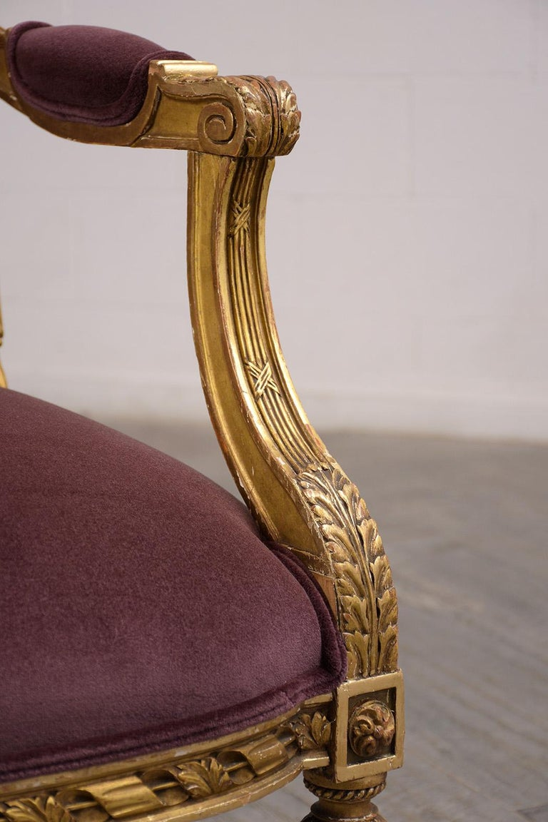 French Louis XVI Style Giltwood Bergères, circa 19th Century For Sale 4