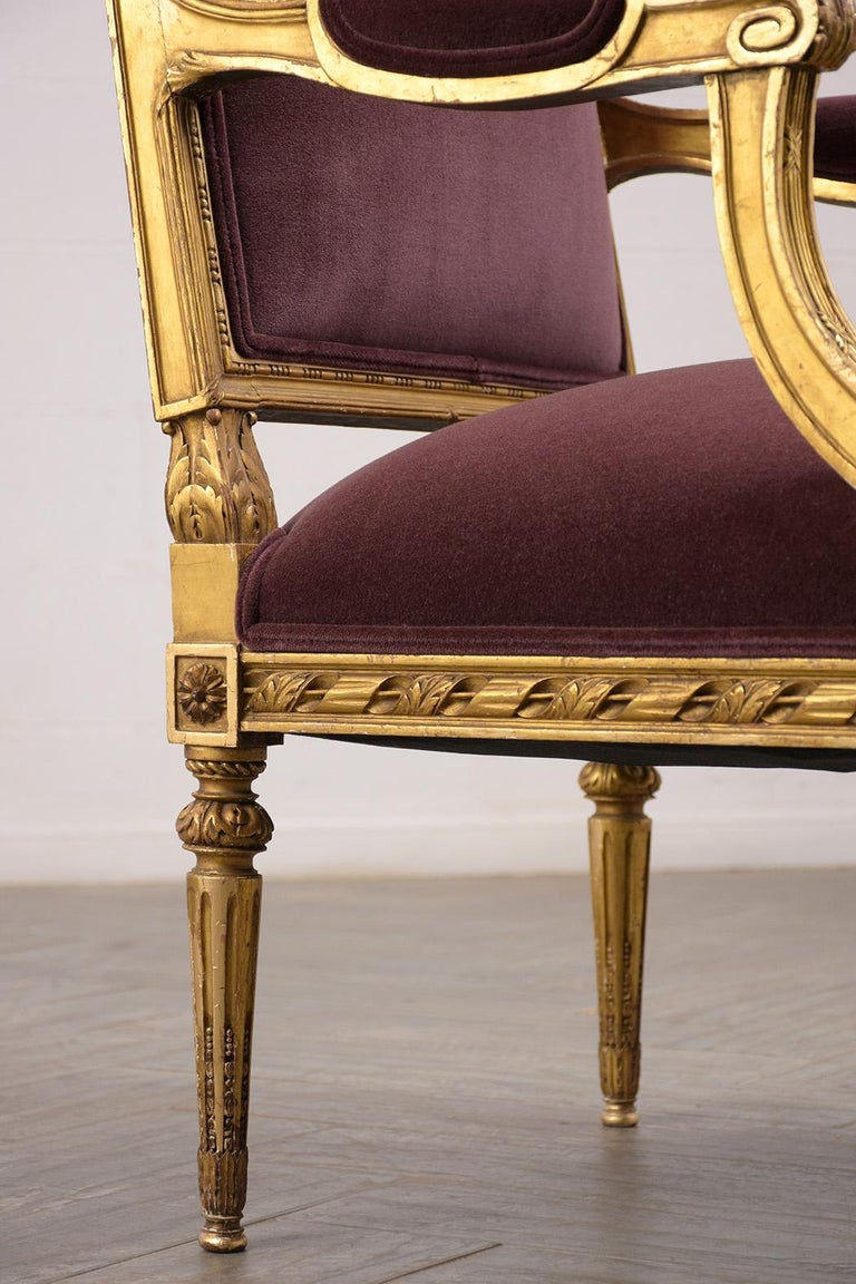 French Louis XVI Style Giltwood Bergères, circa 19th Century For Sale 5