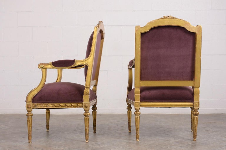 Carved French Louis XVI Style Giltwood Bergères, circa 19th Century For Sale