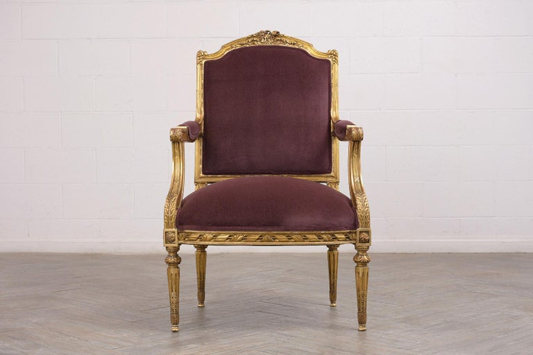 French Louis XVI Style Giltwood Bergères, circa 19th Century In Good Condition For Sale In Los Angeles, CA