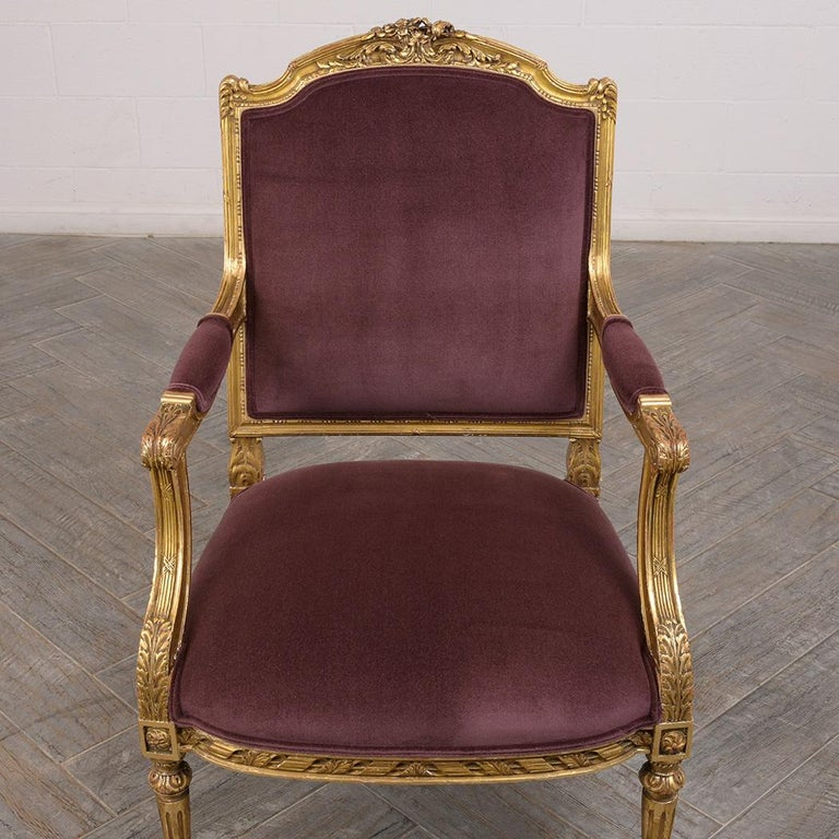 Mohair French Louis XVI Style Giltwood Bergères, circa 19th Century For Sale