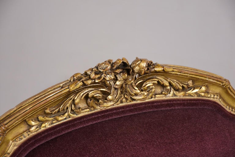 French Louis XVI Style Giltwood Bergères, circa 19th Century For Sale 3