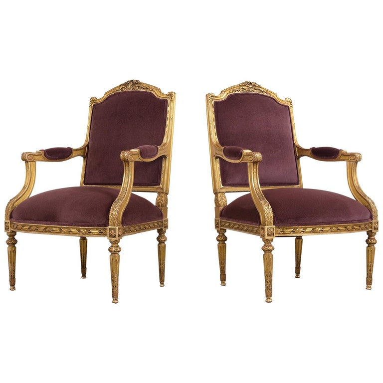 French Louis XVI Style Giltwood Bergères, circa 19th Century For Sale