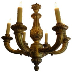 French Louis XVI Style Giltwood Chandelier