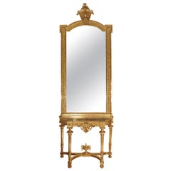 French Louis XVI Style Giltwood Console with Original Mirror