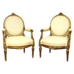 French Louis XVI Style Giltwood Fauteuils