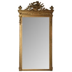 French Louis XVI Style Giltwood Mirror with Beveled Plate, Basket with Foliate