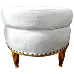 French Louis XVI Style Giltwood Ottoman or Poof