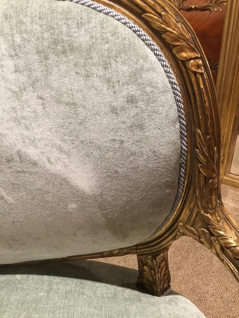 French Louis XVI-Style Giltwood Settee or Loveseat, New Upholstery For Sale 6