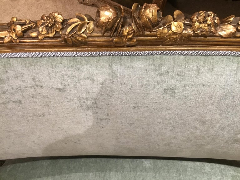 French Louis XVI-Style Giltwood Settee or Loveseat, New Upholstery For Sale 2