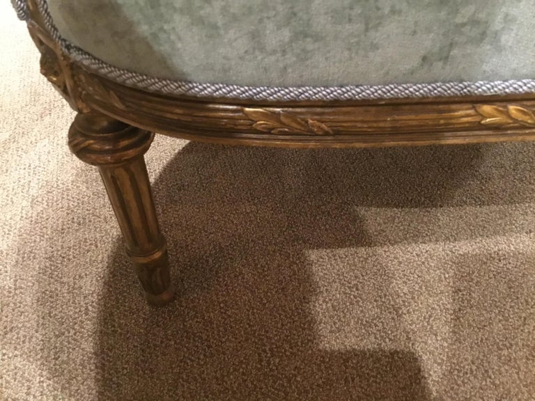 French Louis XVI-Style Giltwood Settee or Loveseat, New Upholstery For Sale 3
