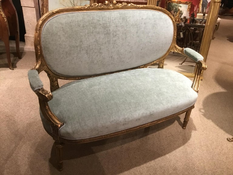 French Louis XVI-Style Giltwood Settee or Loveseat, New Upholstery For Sale 4