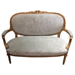 French Louis XVI-Style Giltwood Settee or Loveseat, New Upholstery