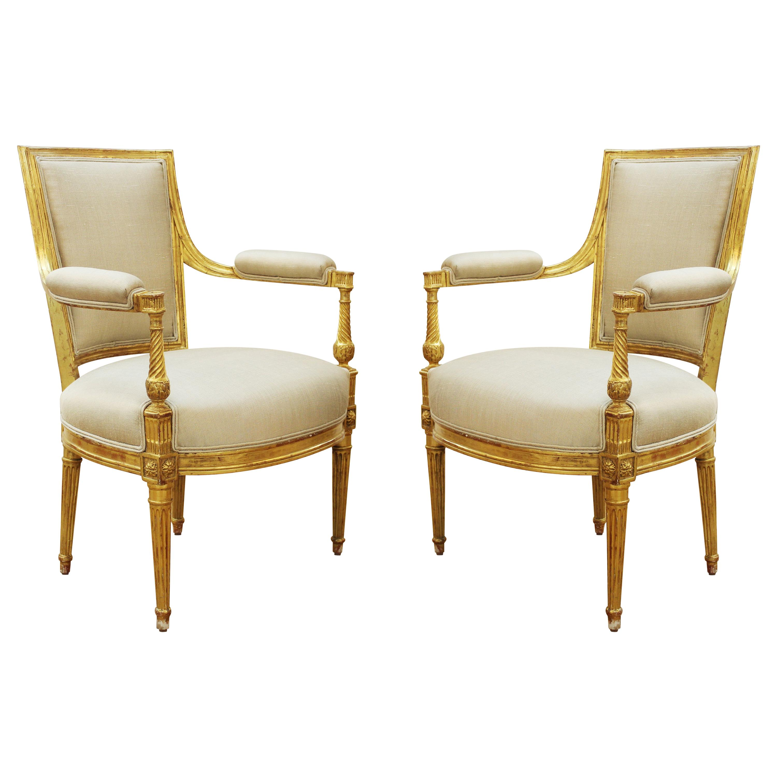 French Louis XVI Style Giltwood Upholstered Fauteuils