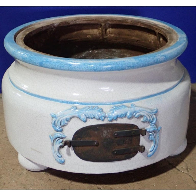 French Louis XVI Style Blue and White Glazed Ceramic Kachelofen Stove  For Sale 7