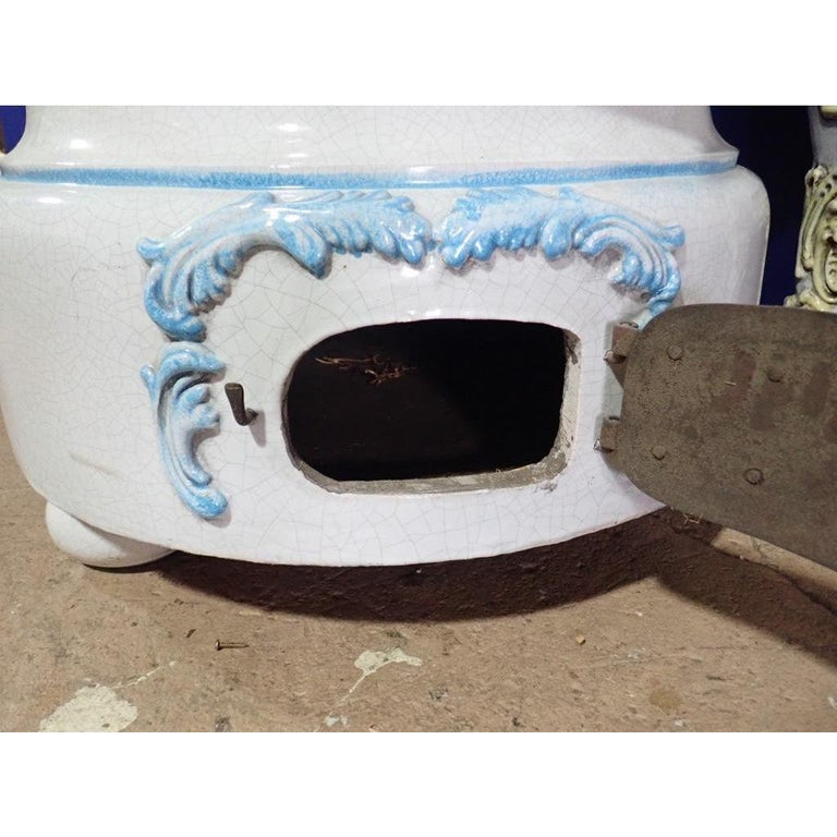 French Louis XVI Style Blue and White Glazed Ceramic Kachelofen Stove  For Sale 8