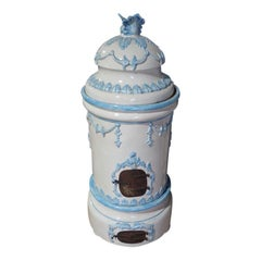 French Louis XVI Style Blue and White Glazed Ceramic Kachelofen Stove