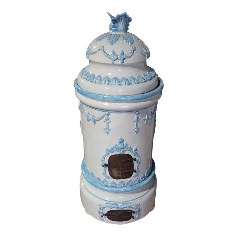 French Louis XVI Style Blue and White Glazed Ceramic Kachelofen Stove  For Sale