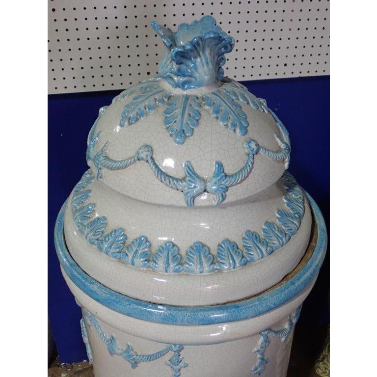 French Louis XVI Style Blue and White Glazed Ceramic Kachelofen Stove  In Good Condition For Sale In Norwood, NJ