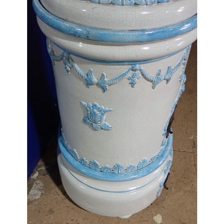 19th Century French Louis XVI Style Blue and White Glazed Ceramic Kachelofen Stove  For Sale