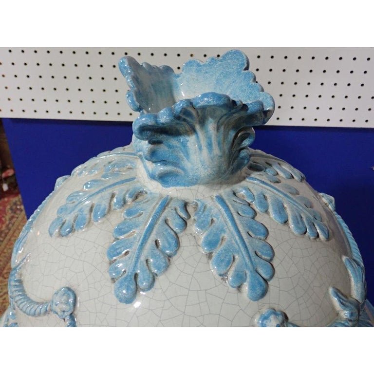 French Louis XVI Style Blue and White Glazed Ceramic Kachelofen Stove  For Sale 2