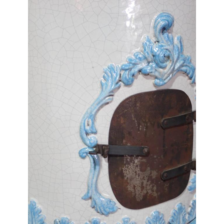 French Louis XVI Style Blue and White Glazed Ceramic Kachelofen Stove  For Sale 4